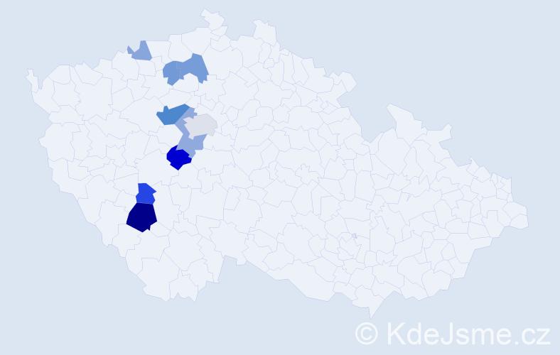 Příjmení: 'Čampulková', počet výskytů 22 v celé ČR