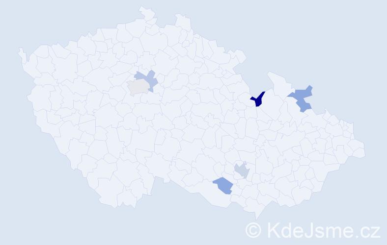 Příjmení: 'Mačalík', počet výskytů 14 v celé ČR