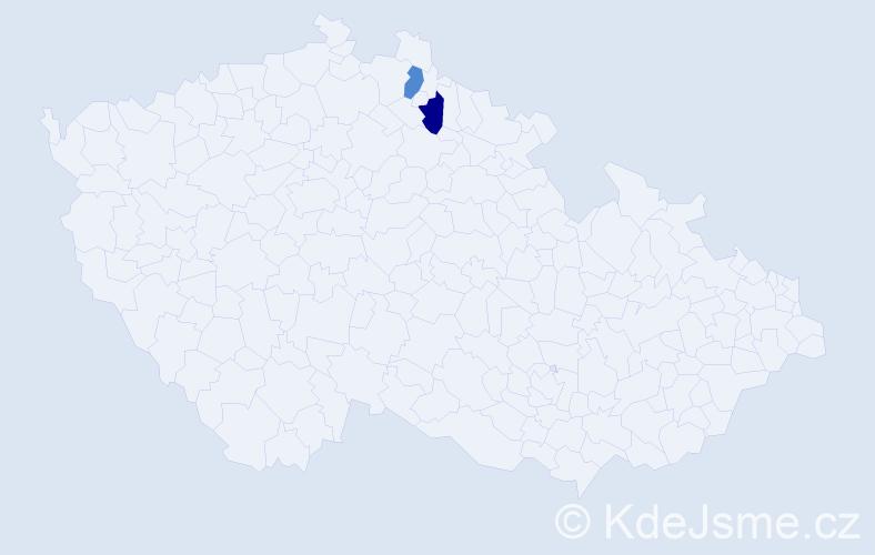 Příjmení: 'Austlová', počet výskytů 2 v celé ČR