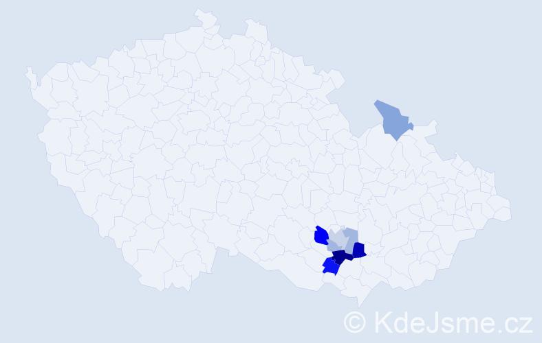 Příjmení: 'Krajplová', počet výskytů 12 v celé ČR