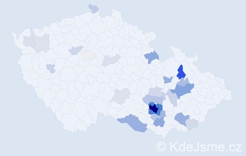 Příjmení: 'Čoupková', počet výskytů 125 v celé ČR