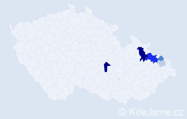 Příjmení: 'Feret', počet výskytů 8 v celé ČR
