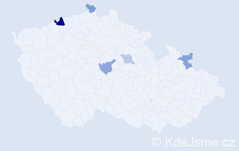 Příjmení: 'Čupcová', počet výskytů 9 v celé ČR