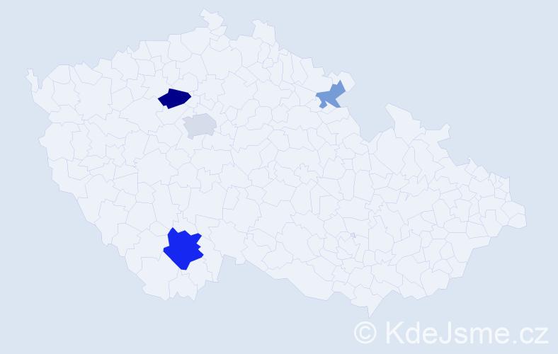Příjmení: 'Kimrová', počet výskytů 9 v celé ČR