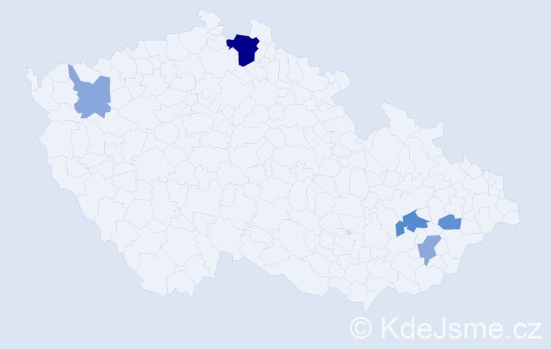 Příjmení: 'Lapošová', počet výskytů 11 v celé ČR