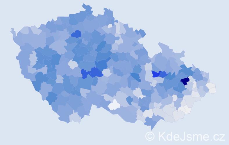 Příjmení: 'Král', počet výskytů 10004 v celé ČR
