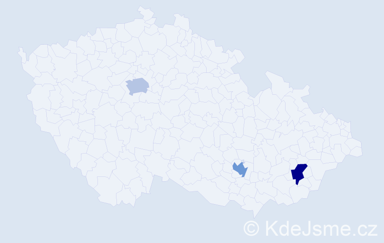 Příjmení: 'Kusl', počet výskytů 3 v celé ČR