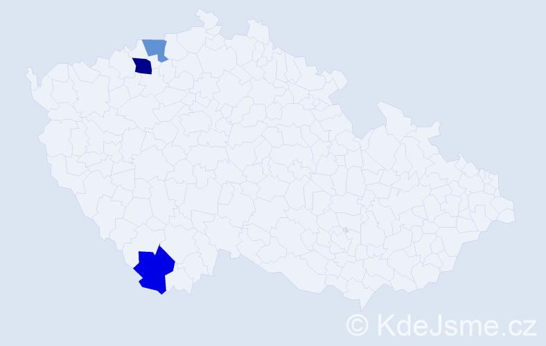Příjmení: 'Janejková', počet výskytů 4 v celé ČR