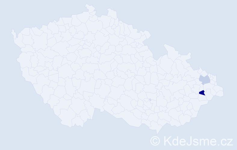 Příjmení: 'Dyjoková', počet výskytů 2 v celé ČR