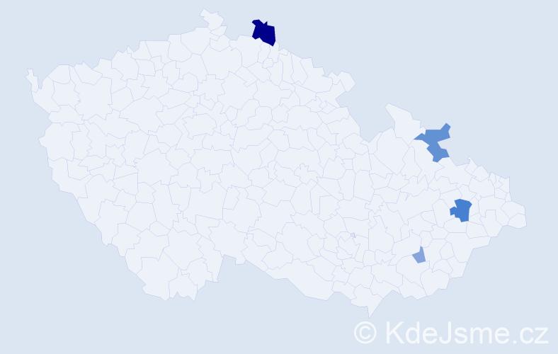 Příjmení: 'Jargašová', počet výskytů 9 v celé ČR