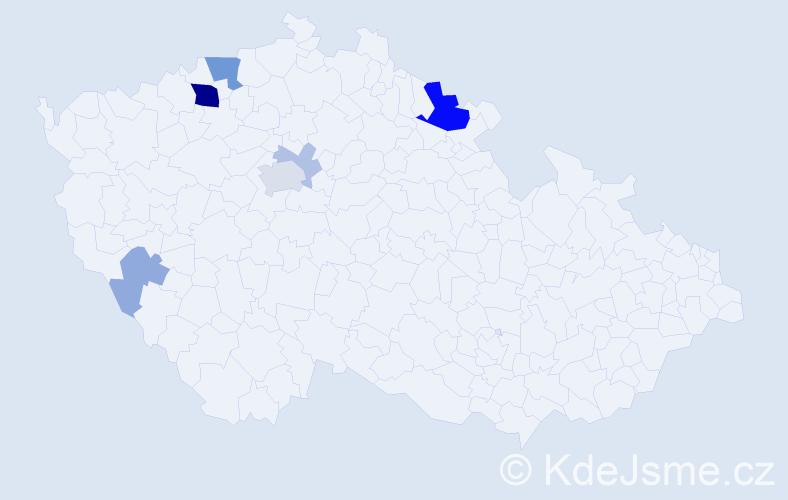 Příjmení: 'Ittner', počet výskytů 20 v celé ČR