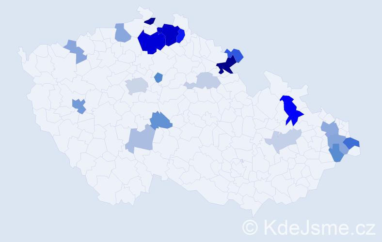 Příjmení: 'Janovič', počet výskytů 58 v celé ČR