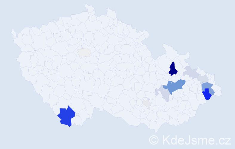 Příjmení: 'Halabicová', počet výskytů 28 v celé ČR