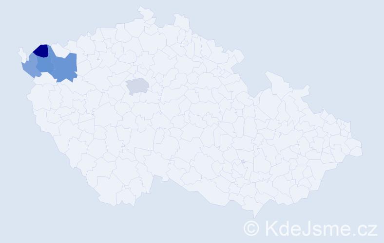 Příjmení: 'Končil', počet výskytů 9 v celé ČR