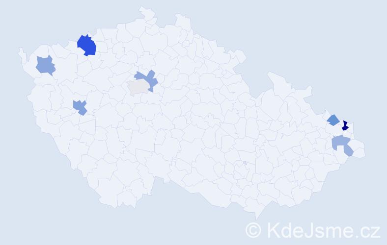 Příjmení: 'Firák', počet výskytů 13 v celé ČR