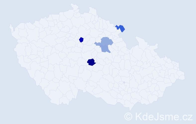 Příjmení: 'Gramerová', počet výskytů 9 v celé ČR