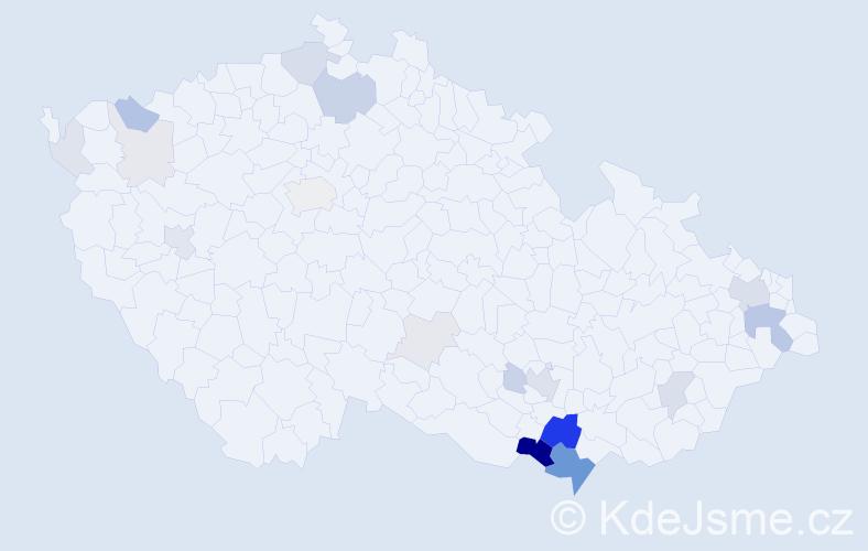 Příjmení: 'Kadrnková', počet výskytů 65 v celé ČR