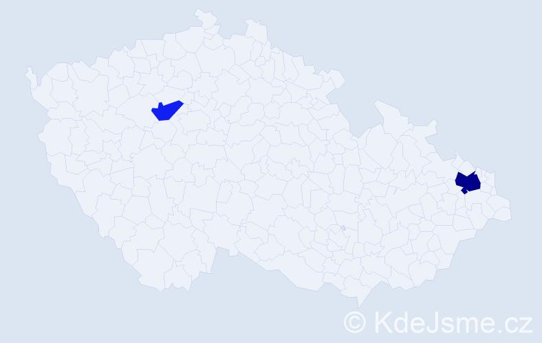 Příjmení: 'Adámaťová', počet výskytů 4 v celé ČR