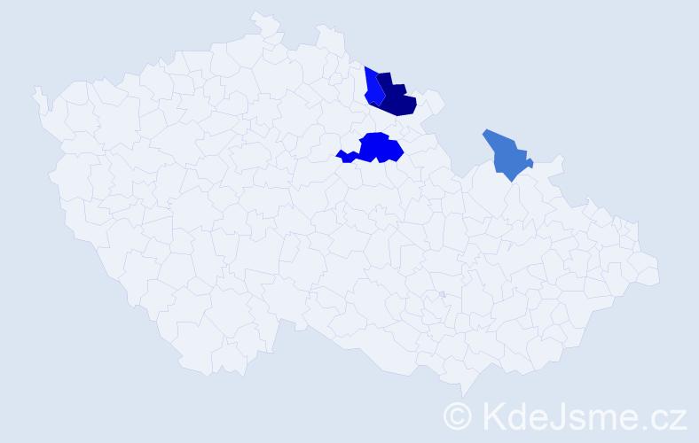 Příjmení: 'Ardelánová', počet výskytů 9 v celé ČR