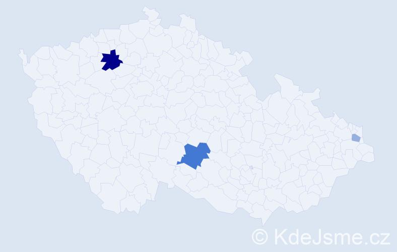 Příjmení: 'Ládra', počet výskytů 7 v celé ČR