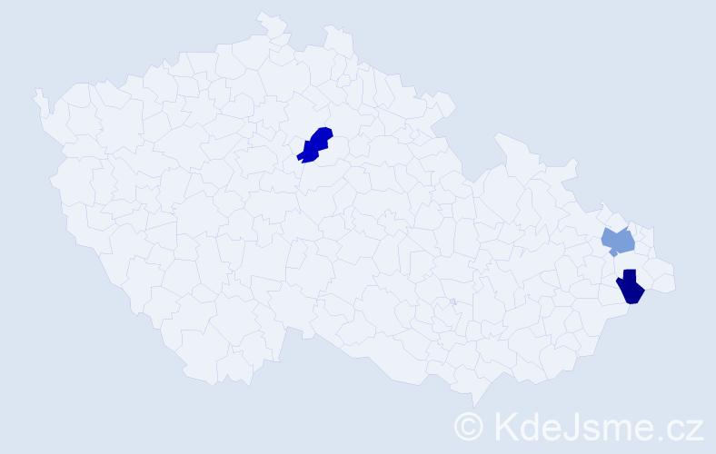 Příjmení: 'Kondula', počet výskytů 10 v celé ČR
