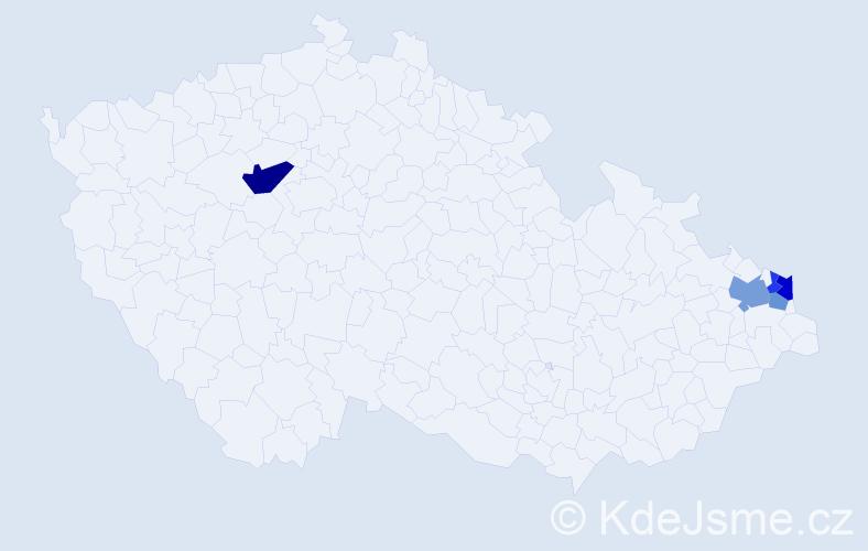 Příjmení: 'Kačinská', počet výskytů 9 v celé ČR