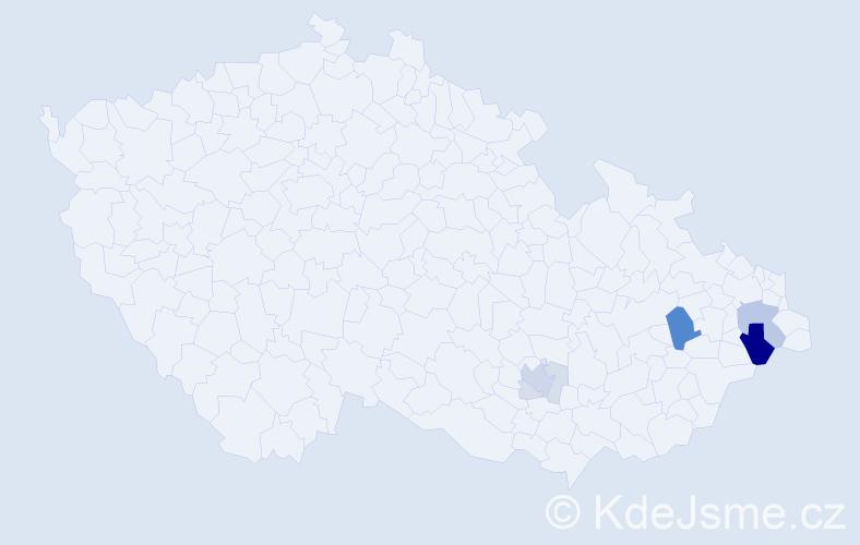 Příjmení: 'Čagan', počet výskytů 21 v celé ČR