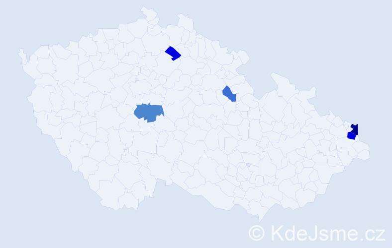 Příjmení: 'Kaczyński', počet výskytů 14 v celé ČR