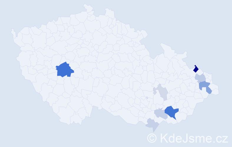 Příjmení: 'Hrušťák', počet výskytů 30 v celé ČR
