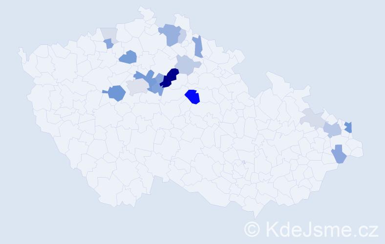 Příjmení: 'Kašička', počet výskytů 52 v celé ČR