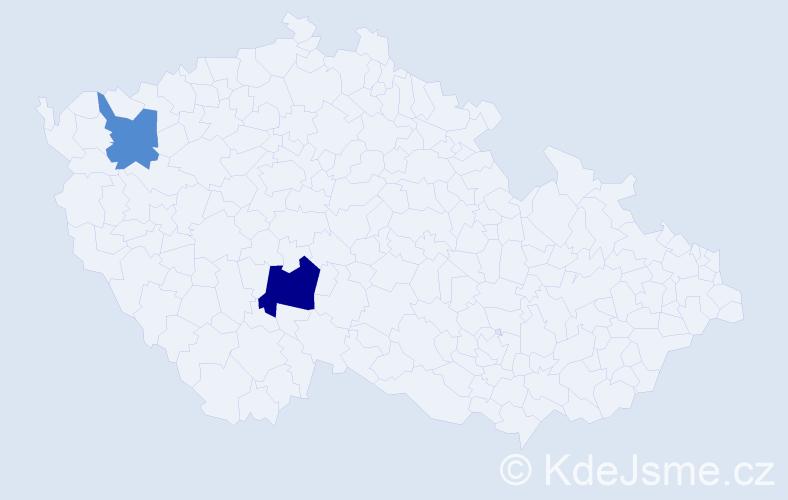 Příjmení: 'Dudiková', počet výskytů 3 v celé ČR