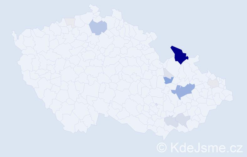 Příjmení: 'Burďák', počet výskytů 62 v celé ČR