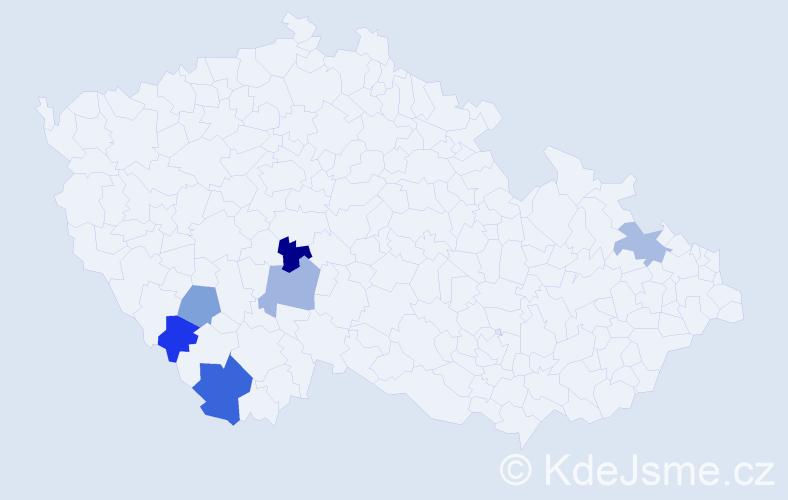 Příjmení: 'Čer', počet výskytů 7 v celé ČR