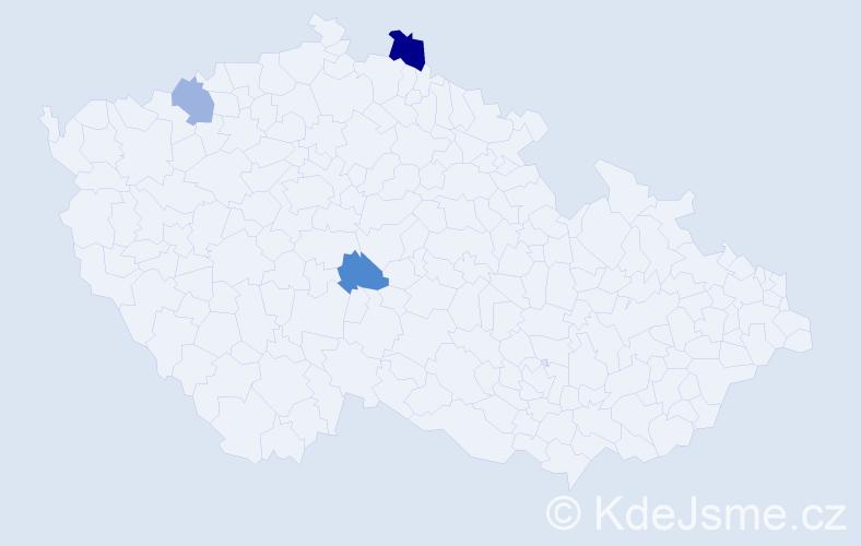 Příjmení: 'Hojčuk', počet výskytů 4 v celé ČR