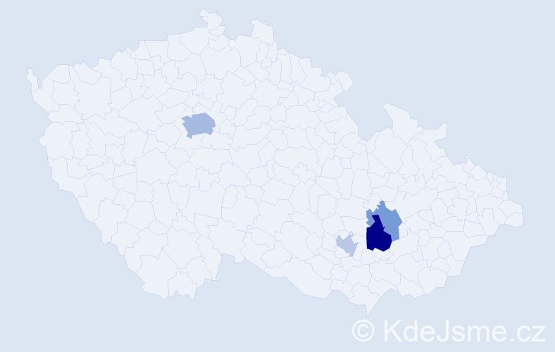 Příjmení: 'Cyrner', počet výskytů 8 v celé ČR