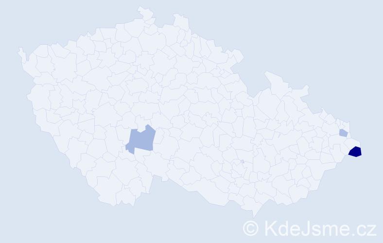 Příjmení: 'Bosnyák', počet výskytů 4 v celé ČR