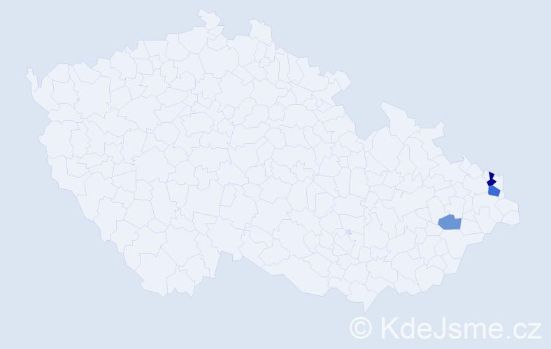 Příjmení: 'Častoňová', počet výskytů 7 v celé ČR