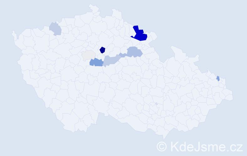 Příjmení: 'Galuščák', počet výskytů 19 v celé ČR