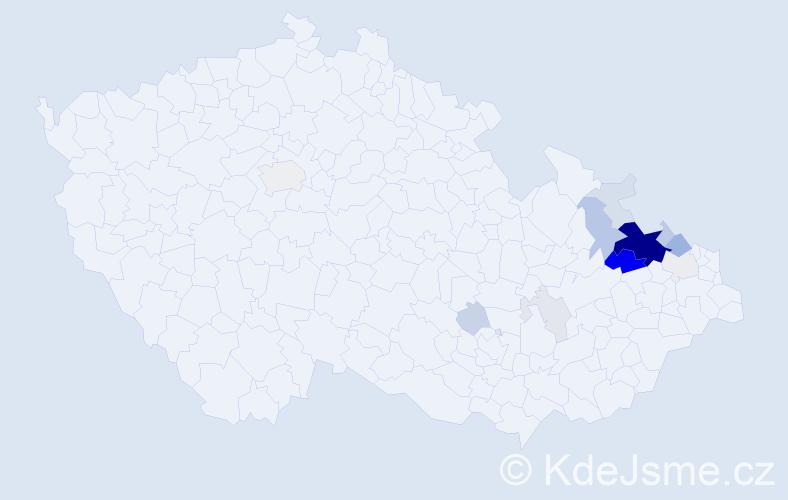 Příjmení: 'Kostera', počet výskytů 53 v celé ČR