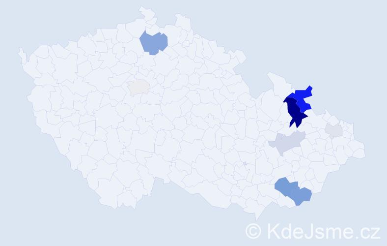Příjmení: 'Humpula', počet výskytů 19 v celé ČR