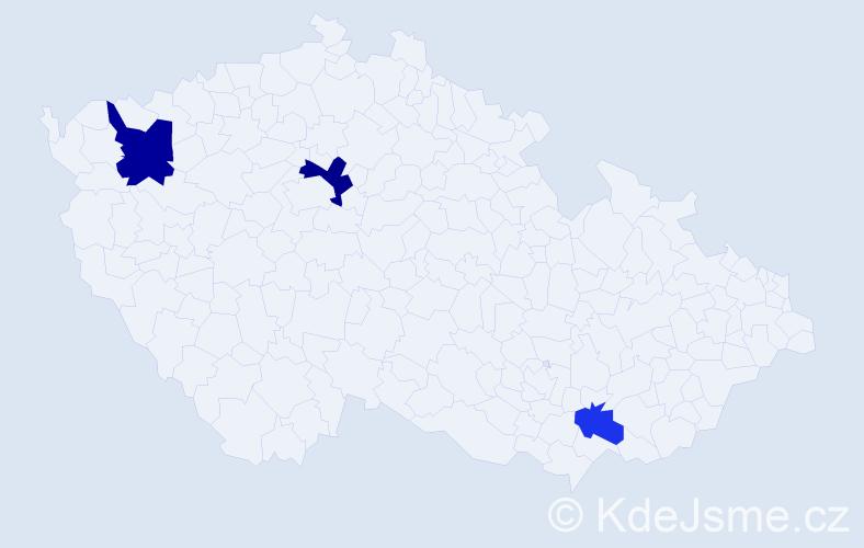 Příjmení: 'Jakubes', počet výskytů 5 v celé ČR