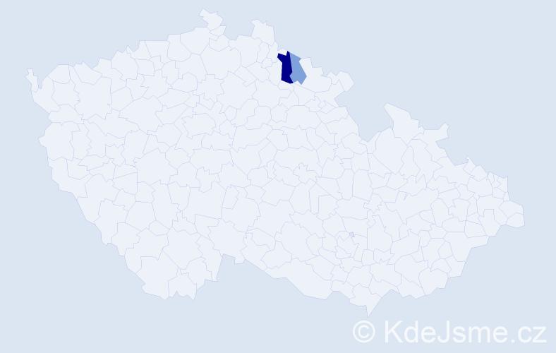 Příjmení: 'Gaudel', počet výskytů 4 v celé ČR