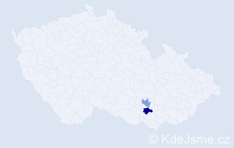 Příjmení: 'Chamajeva', počet výskytů 3 v celé ČR