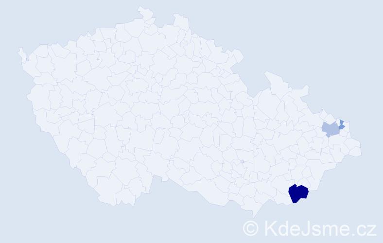 Příjmení: 'Gálek', počet výskytů 7 v celé ČR