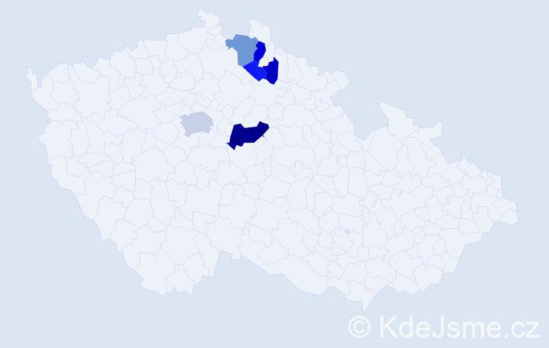 Příjmení: 'Hykmanová', počet výskytů 22 v celé ČR