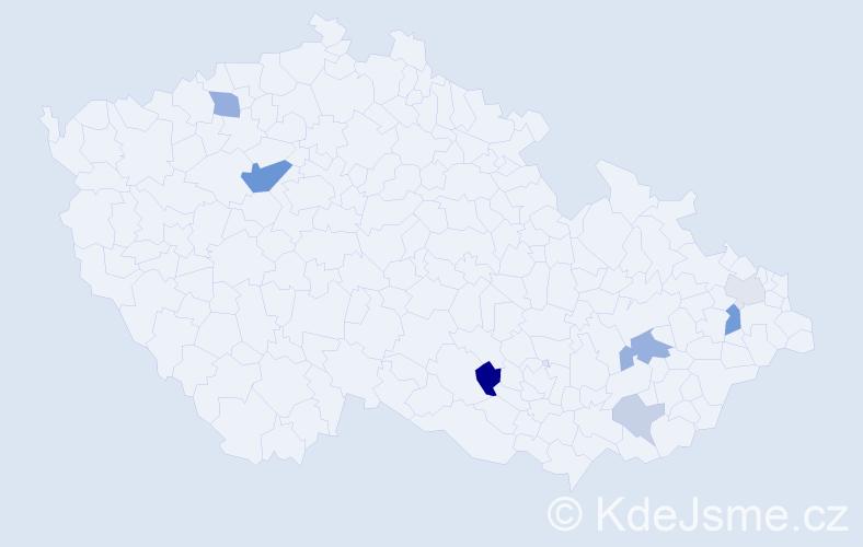Příjmení: 'Galvánková', počet výskytů 15 v celé ČR