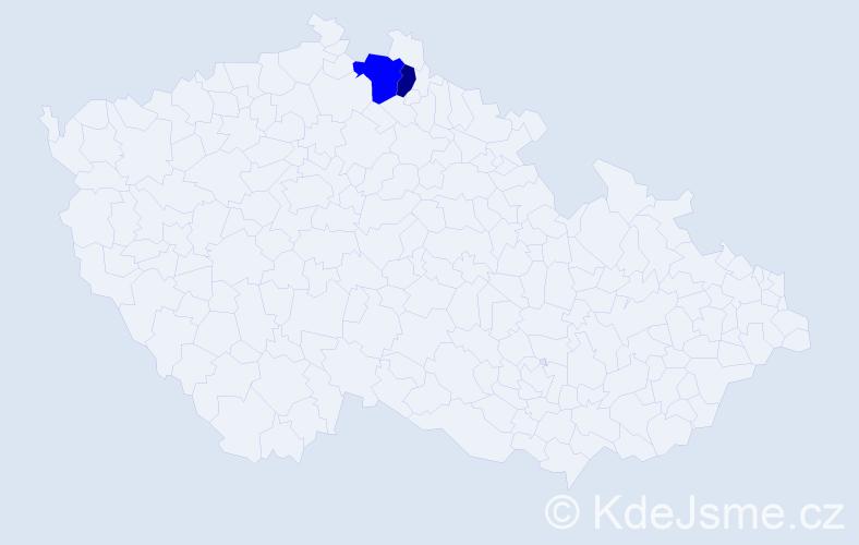 Příjmení: 'Gebrián', počet výskytů 5 v celé ČR