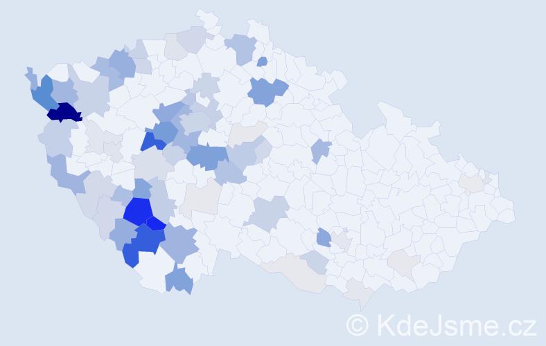 Příjmení: 'Kůtová', počet výskytů 274 v celé ČR