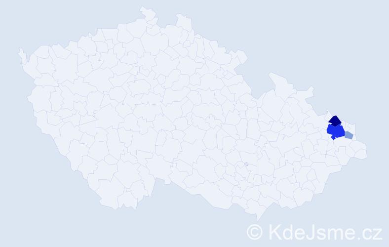 Příjmení: 'Kojdecká', počet výskytů 10 v celé ČR