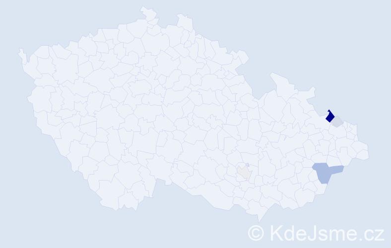 Příjmení: 'Jařabová', počet výskytů 15 v celé ČR